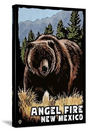 Angel Fire, New Mexico - Grizzly Bear - Scratchboard-Lantern Press-Stretched Canvas Print