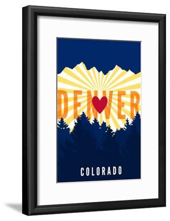 Denver, Colorado - Heart and Treeline (Vertical)-Lantern Press-Framed Art Print
