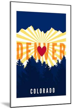 Denver, Colorado - Heart and Treeline (Vertical)-Lantern Press-Mounted Art Print