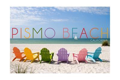 Pismo Beach, California - Colorful Beach Chairs-Lantern Press-Framed Art Print