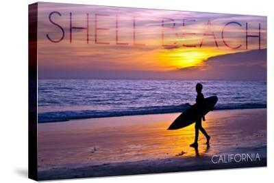 Shell Beach, California - Surfer and Sunset-Lantern Press-Stretched Canvas Print