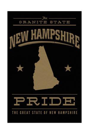 New Hampshire State Pride - Gold on Black-Lantern Press-Framed Art Print