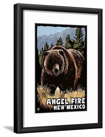 Angel Fire, New Mexico - Grizzly Bear - Scratchboard-Lantern Press-Framed Art Print