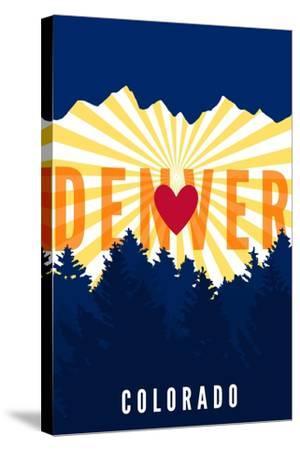 Denver, Colorado - Heart and Treeline (Vertical)-Lantern Press-Stretched Canvas Print