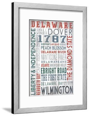 Delaware - Barnwood Typography-Lantern Press-Framed Art Print