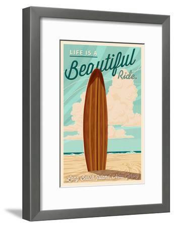 LBI, New Jersey - Life is a Beautiful Ride - Surfboard - Letterpress-Lantern Press-Framed Art Print