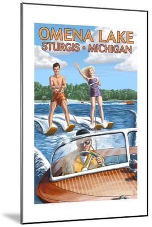 Omena Lake - Sturgis, Michigan - Water Skiing and Wooden Boat-Lantern Press-Mounted Art Print