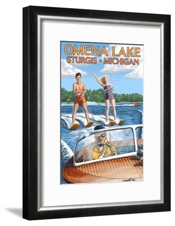 Omena Lake - Sturgis, Michigan - Water Skiing and Wooden Boat-Lantern Press-Framed Art Print