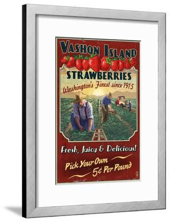 Vashon Island, WA - Strawberry Farm - Vintage Sign-Lantern Press-Framed Art Print