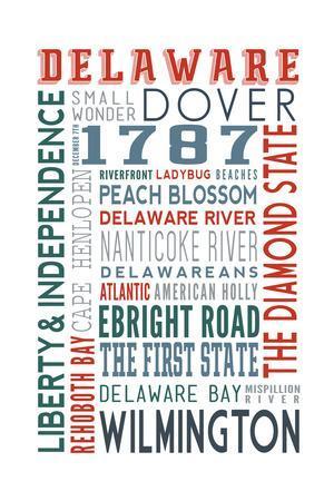Delaware - Typography-Lantern Press-Framed Art Print