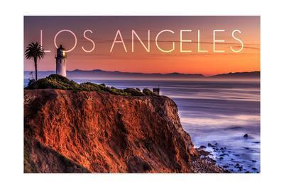 Los Angeles, California - Point Vincent Lighthouse and Sunset-Lantern Press-Framed Art Print