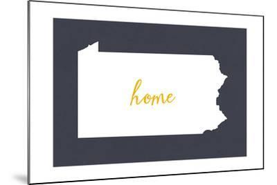 Pennsylvania - Home State - White on Gray-Lantern Press-Mounted Art Print