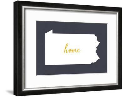 Pennsylvania - Home State - White on Gray-Lantern Press-Framed Art Print