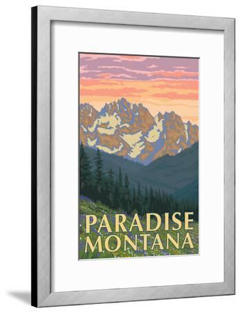 Paradise, Montana - Spring Flowers-Lantern Press-Framed Art Print