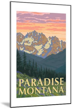 Paradise, Montana - Spring Flowers-Lantern Press-Mounted Art Print