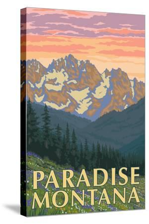 Paradise, Montana - Spring Flowers-Lantern Press-Stretched Canvas Print