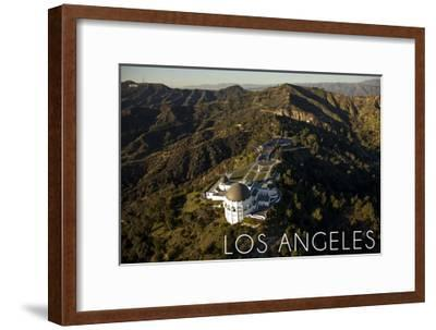 Los Angeles, California - Griffith Conservatory and Mountains-Lantern Press-Framed Art Print