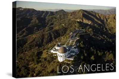 Los Angeles, California - Griffith Conservatory and Mountains-Lantern Press-Stretched Canvas Print