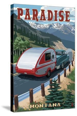 Paradise, Montana - Retro Camper-Lantern Press-Stretched Canvas Print