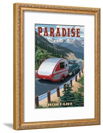 Paradise, Montana - Retro Camper-Lantern Press-Framed Art Print