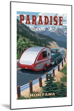 Paradise, Montana - Retro Camper-Lantern Press-Mounted Art Print