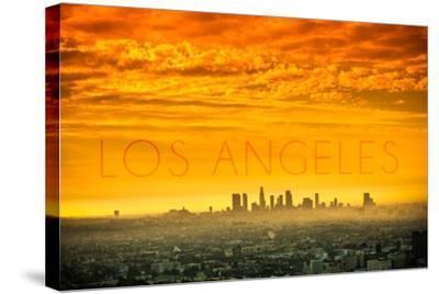 Los Angeles, California - Orange Skyline-Lantern Press-Stretched Canvas Print
