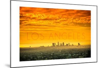 Los Angeles, California - Orange Skyline-Lantern Press-Mounted Art Print