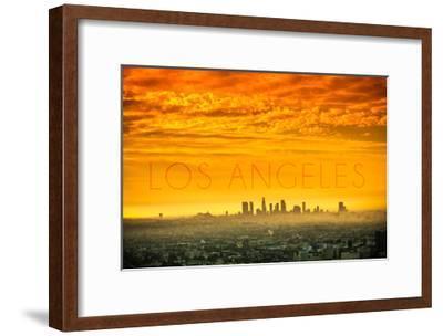 Los Angeles, California - Orange Skyline-Lantern Press-Framed Art Print