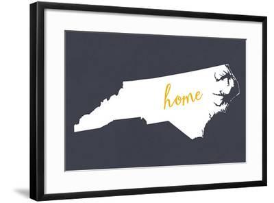 North Carolina - Home State - White on Gray-Lantern Press-Framed Art Print