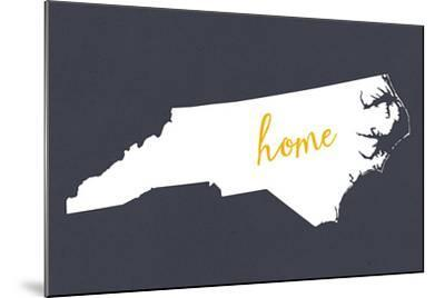 North Carolina - Home State - White on Gray-Lantern Press-Mounted Art Print