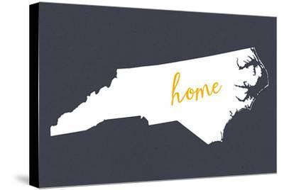 North Carolina - Home State - White on Gray-Lantern Press-Stretched Canvas Print
