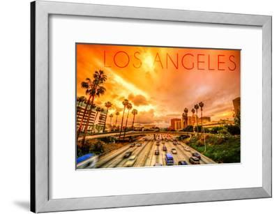 Los Angeles, California - Highway and Palms-Lantern Press-Framed Art Print
