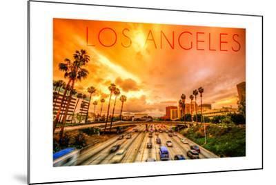 Los Angeles, California - Highway and Palms-Lantern Press-Mounted Art Print