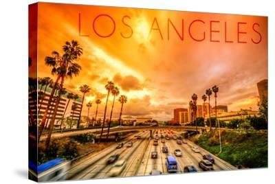Los Angeles, California - Highway and Palms-Lantern Press-Stretched Canvas Print