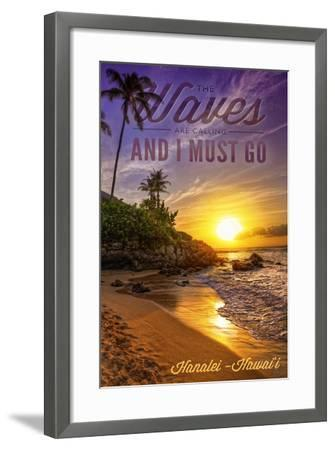 Hanalei, Hawaii - the Waves are Calling - Sunset and Palm-Lantern Press-Framed Art Print