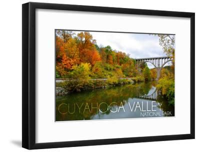 Cuyahoga Valley National Park, Ohio - Fall Foliage and Bridge-Lantern Press-Framed Art Print