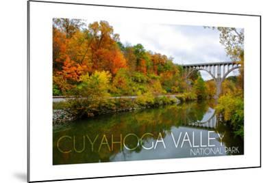 Cuyahoga Valley National Park, Ohio - Fall Foliage and Bridge-Lantern Press-Mounted Art Print