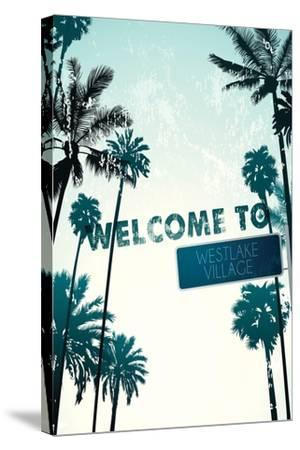 Westlake Village, California - Street Sign and Palms-Lantern Press-Stretched Canvas Print