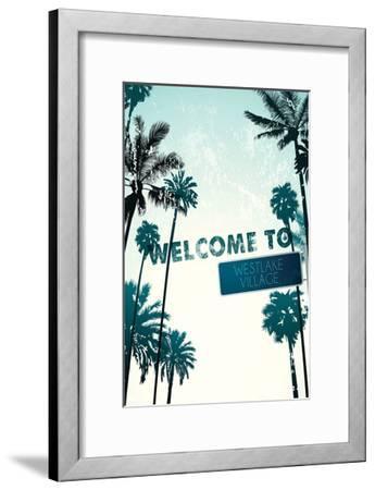 Westlake Village, California - Street Sign and Palms-Lantern Press-Framed Art Print