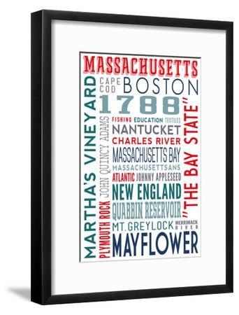 Massachusetts - Typography-Lantern Press-Framed Art Print