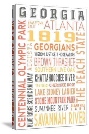 Georgia - Typography-Lantern Press-Stretched Canvas Print