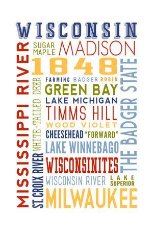 Wisconsin - Typography-Lantern Press-Framed Art Print