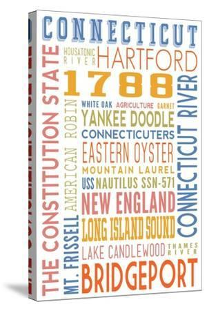 Connecticut - Typography-Lantern Press-Stretched Canvas Print