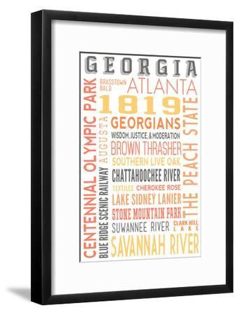 Georgia - Typography-Lantern Press-Framed Art Print
