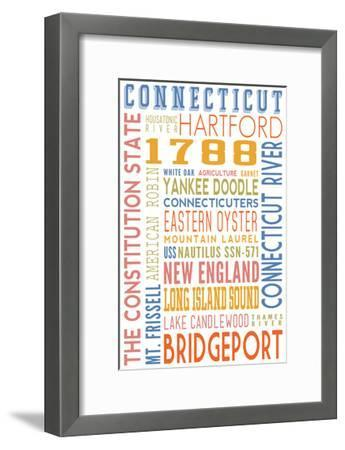 Connecticut - Typography-Lantern Press-Framed Art Print