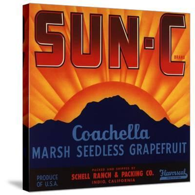 Sun C Brand - Indio, California - Citrus Crate Label-Lantern Press-Stretched Canvas Print