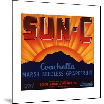 Sun C Brand - Indio, California - Citrus Crate Label-Lantern Press-Mounted Art Print