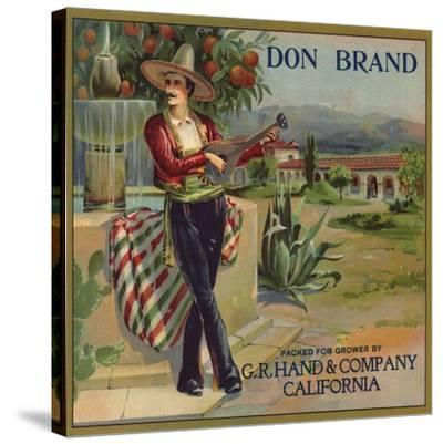 Don Brand - California - Citrus Crate Label-Lantern Press-Stretched Canvas Print
