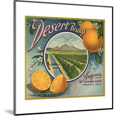 Desert Brand - Phoenix, Arizona - Citrus Crate Label-Lantern Press-Mounted Art Print