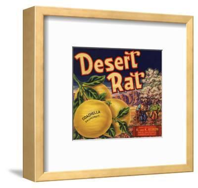 Desert Rat Brand - Indio, California - Citrus Crate Label-Lantern Press-Framed Art Print